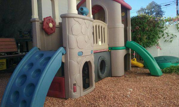 step2 climber swing set slide clubhouse woodlands summit naturally playful